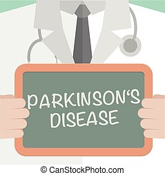 minimalistic illustration of a doctor holding a blackboard with Parkinsons Disease text, eps10 vector