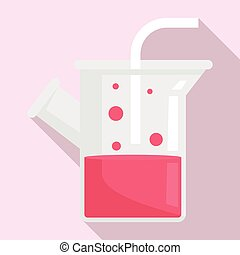 Medical boiling flask icon, flat style