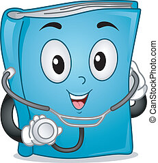 Mascot Illustration Featuring a Medical Book Wearing a Stethoscope