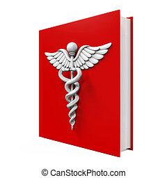 Medical Book with Caduceus Symbol