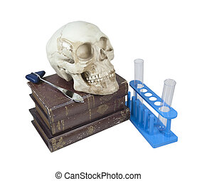Medical Books with Skull and Test Tubes