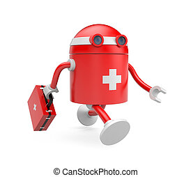 Medical bot - Business concept. Isolated on white