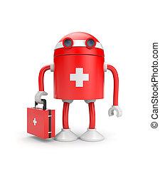 Medical bot - Medical metaphor. Isolated on white