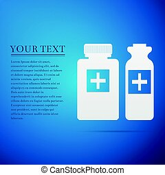 Medical bottles flat icon on blue background. Vector Illustration