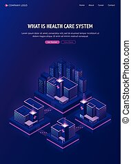 Medical buildings network banner. Health care system concept. Vector neon poster with smart city and healthcare infrastructure with public clinic, hospitals and drugstores