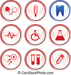 Medical buttons. - Medical button set. Vector illustration....