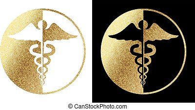 medical caduceus logo in golden