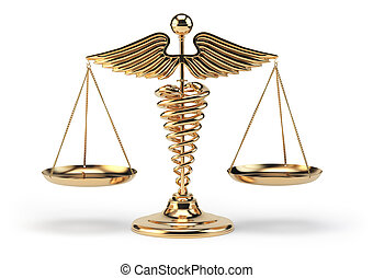 Medical caduceus symbol as scales. Concept of medicine and justice.