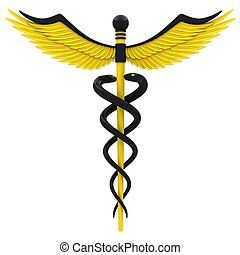 Medical caduceus symbol in yellow and black color. Isolated...