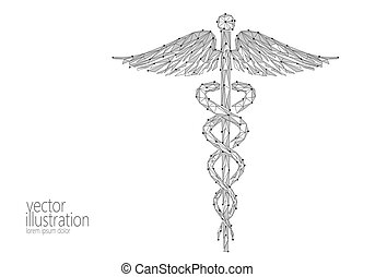 Medical Caduceus symbol low poly modern design. Innovation technology medicine future center polygon triangle gray monochrome black sign. Snake and wings abstract vector illustration white background