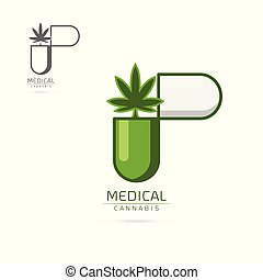 medical cannabis in green capsule emblems, label, logo set vector template