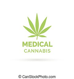 Medical Cannabis icon design with Marijuana hemp leaf symbol