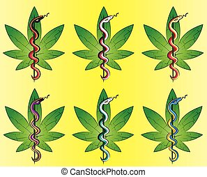 medical cannabis leaf snake symbol