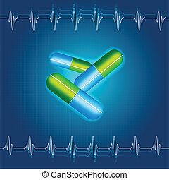 illustration of medical capsule on abstract background