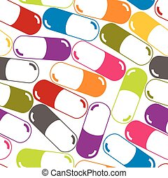 Medical capsules seamless pattern.