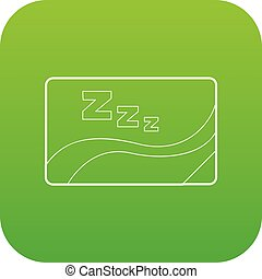 Medical card of sleep icon green vector isolated on white...