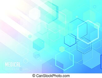 medical care blue background with hexagonal geometric shapes