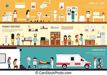 Medical Care Family Doctor Ambulance flat hospital interior...