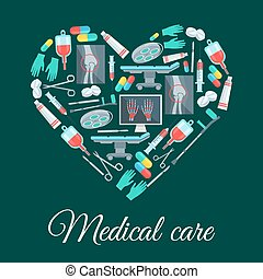 Medical care, medicine vector heart shape poster