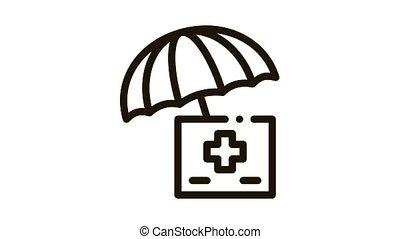 medical care under umbrella Icon Animation. black medical care under umbrella animated icon on white background