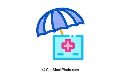 medical care under umbrella Icon Animation. color medical care under umbrella animated icon on white background