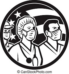 medical-care-workers-mask-heroes-USA-FLAG-CIRC-ICON-BW-CUT