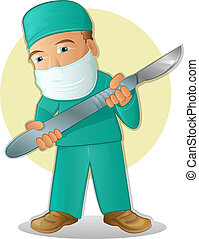 Medical Cartoon - Doctor, wearing surgery scrubs and holding...