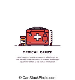 Medical treatment and clinic concept. Health and medicine banner. Medical doctor suitcase with tools and pills. First kit and medical help sign. Line style trendy banner.