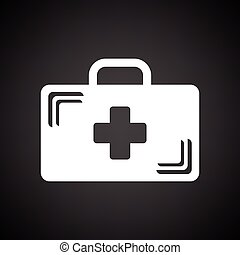 Medical case icon. Black background with white. Vector illustration.