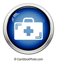 Medical case icon. Glossy button design. Vector illustration.