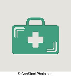 Medical case icon. Gray background with green. Vector illustration.