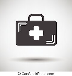 Medical case icon on gray background, round shadow. Vector illustration.