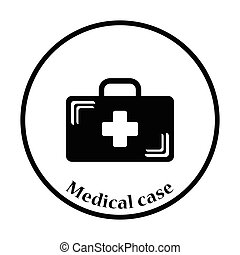 Medical case icon. Thin circle design. Vector illustration.