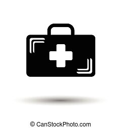 Medical case icon. White background with shadow design. Vector illustration.