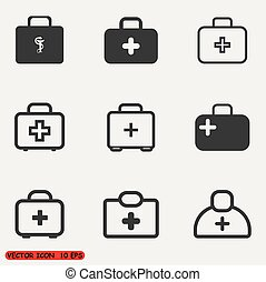Medical case sign icons set