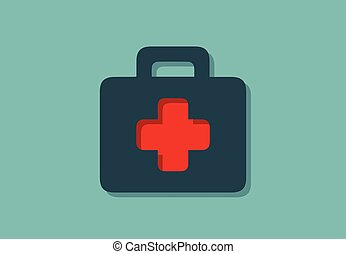 Medical case symbol with, minimalistic vector illustration symbol