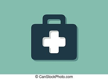 Medical case symbol with white cross, minimalistic vector illustration symbol