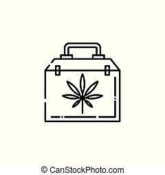 Medical case with cannabis leaf line icon - thin outline symbol of bag with marijuana.
