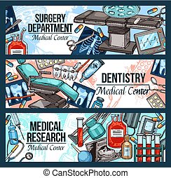 Medical center promo banners sketch style vector