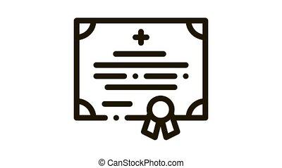 medical certificate of nurse degree Icon Animation. black medical certificate of nurse degree animated icon on white background