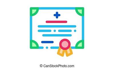 medical certificate of nurse degree Icon Animation. color medical certificate of nurse degree animated icon on white background
