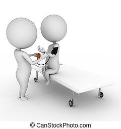 medical checkup - 3d rendered illustration of a little...