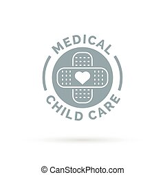 Medical child care symbol with heart and plaster bandage icon.
