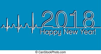 Medical Christmas banner, 2018 happy new year, vector 2018 health medical style wave cardiology, the concept of a healthy lifestyle