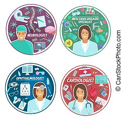 Medical clinic doctors vector icons - Cardiology, neurology...