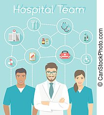 Medical clinic staff doctor and nurses infographics element