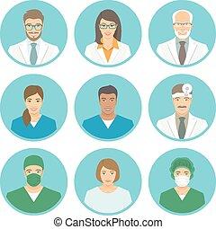 Medical clinic staff flat avatars of doctors, nurses,...