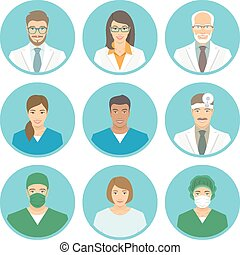 Medical clinic staff flat avatars of doctors, nurses, ...