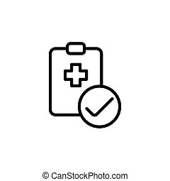 medical clipboard checklist icon on white background