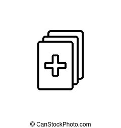 medical clipboard checklist. vector illustration black on white background